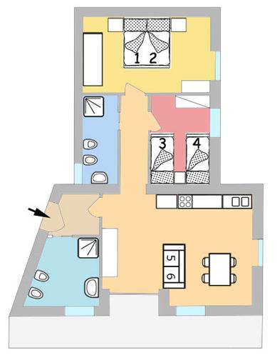 Plattegrond appartement papavero