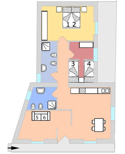 Plattegrond appartement Tulipano
