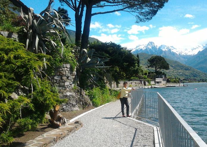 Wandelpad langs het Comomeer met de eigenaresse van appartement Mena