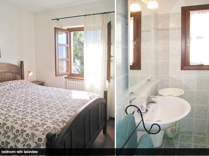 Slaapkamer met uitzicht op het Comomeer